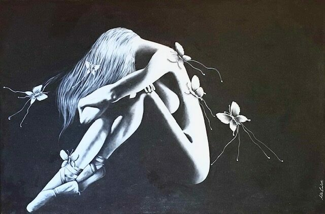 dame aux papillons Anita Carlotti galerie bel'arti