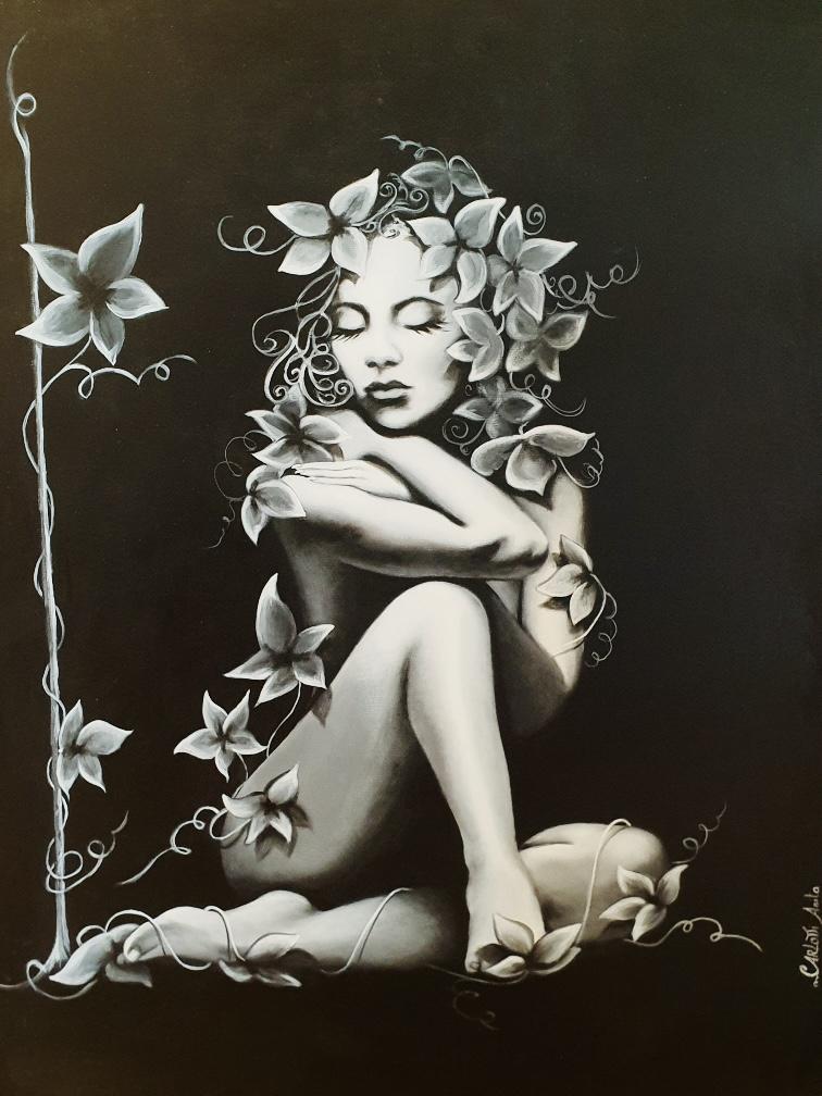 Dame aux fleurs Anita Carlotti galerie bel'arti